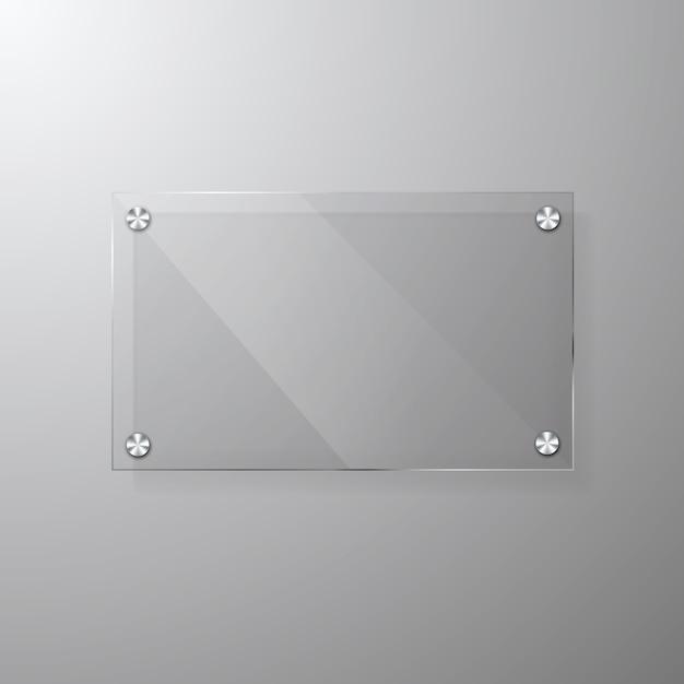 Vector la plantilla vidriosa moderna de la señalización con el espacio para el mensaje. Vector Premium
