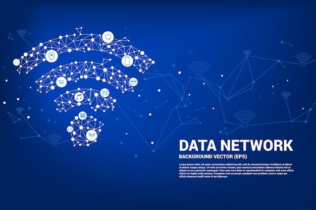 Vector polígono móvil icono de datos. concepto para la transferencia de datos de redes de datos móviles y wi-fi. Vector Premium