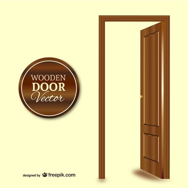 vector puerta de madera vector gratis