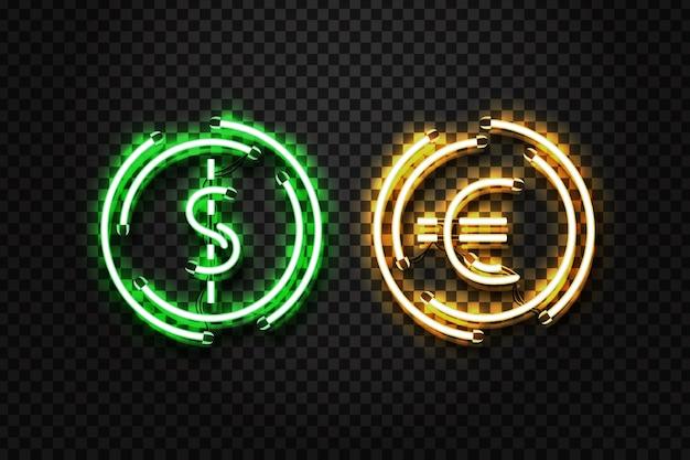 Vector realista aislado letrero de neón de dólar y euro moneda Vector Premium