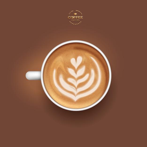Vector realista aislado taza blanca de tulipán de café con leche, vista superior. Vector Premium