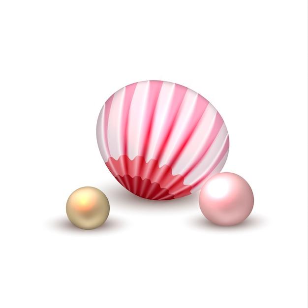 Vector realista concha con vacaciones de perlas Vector Premium