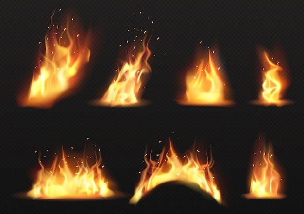 Vector realista conjunto de llamas de fuego ardiente vector gratuito