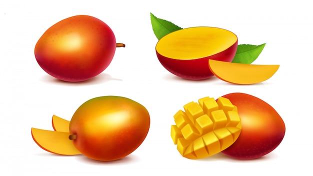 Vector realista entero y en rodajas de mango vector gratuito