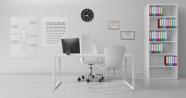 Vector realista interior de la oficina de oftalmólogo vector gratuito