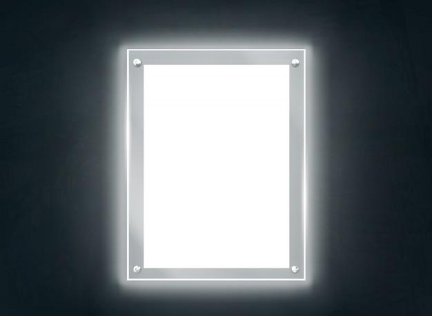 Vector realista de marco de placa de metacrilato iluminante vector gratuito