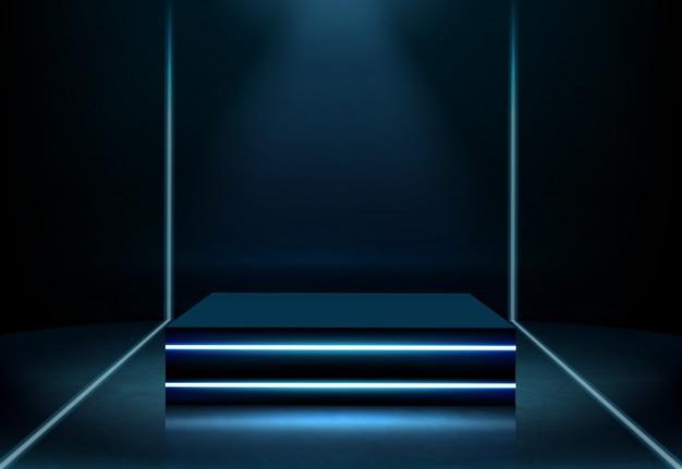 Vector realista de podio cuadrado de neón iluminado vector gratuito