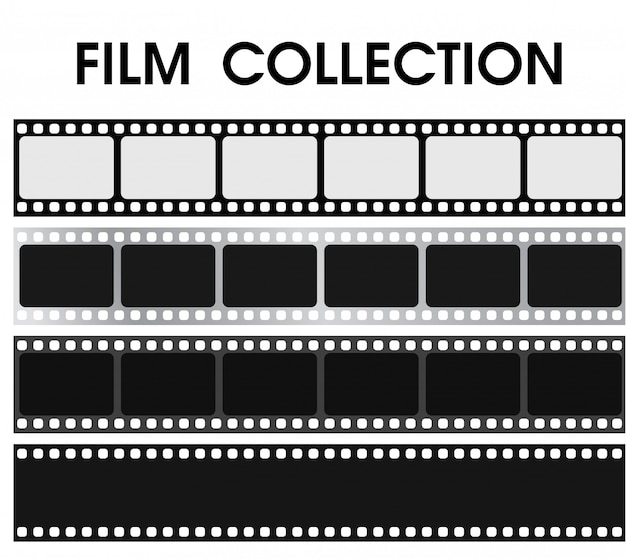 Vector retro colección de películas en blanco y negro. Vector Premium