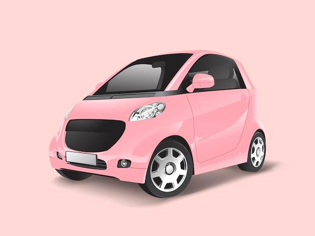 Vector rosa compacto coche híbrido vector gratuito