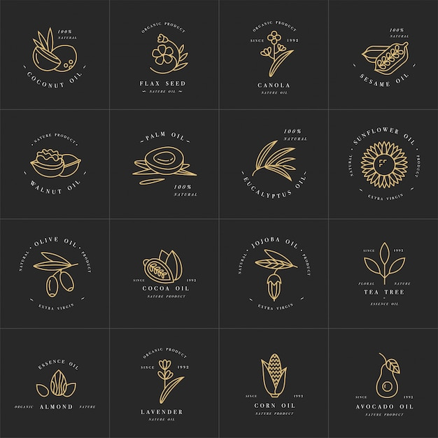 Vector set plantillas de diseño y emblemas - aceites saludables y cosméticos. diferentes aceites naturales y orgánicos. Vector Premium