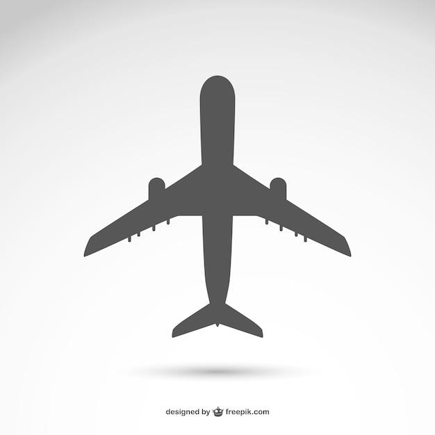 Vector silueta de avión vector gratuito