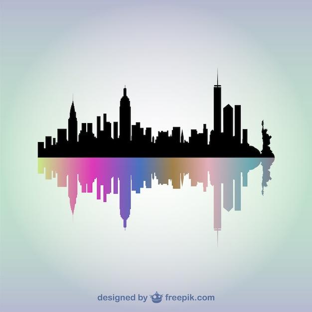 Vector silueta de edificios de nueva york vector gratuito