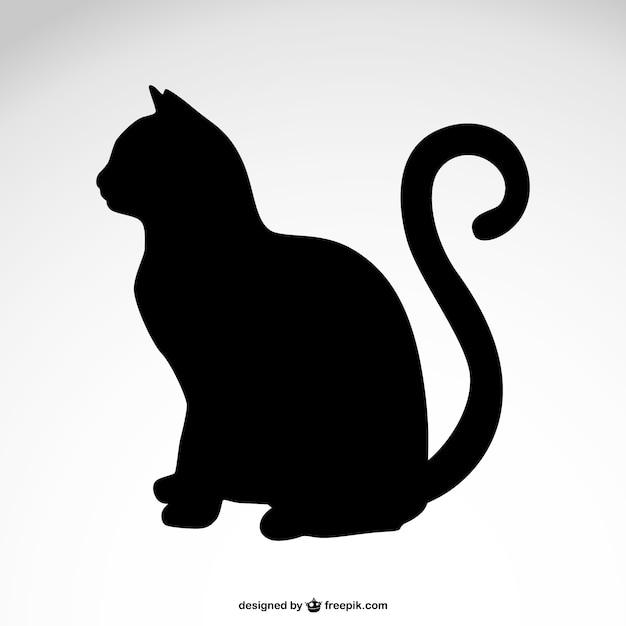 Vector silueta de gato negro Vector Premium