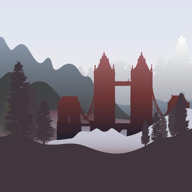 El vector de silueta del puente de londres vector gratuito