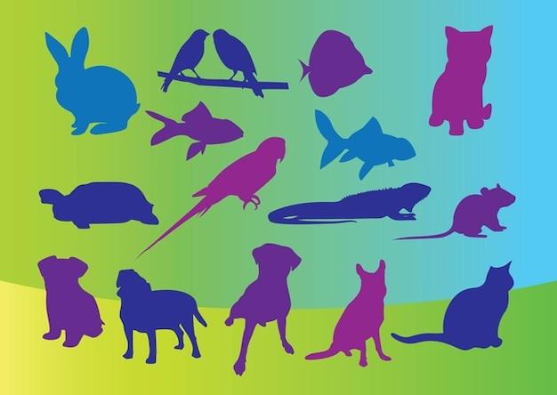 vector siluetas de animales domésticos Vector Gratis