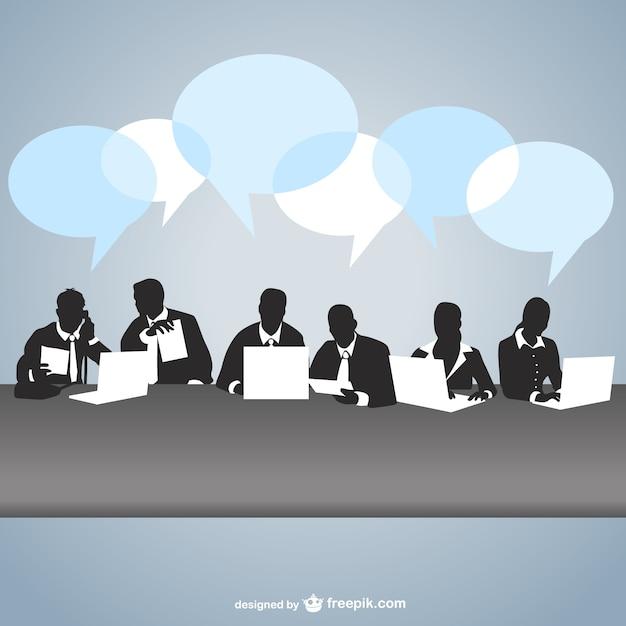Vector siluetas en reunión de negocios vector gratuito
