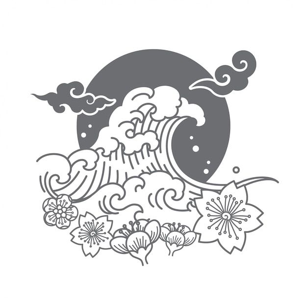 El vector simbólico del diseño del logotipo de japón ilustra. Vector Premium