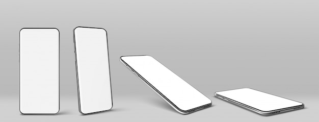 Vector smartphone con pantalla en blanco en blanco vector gratuito