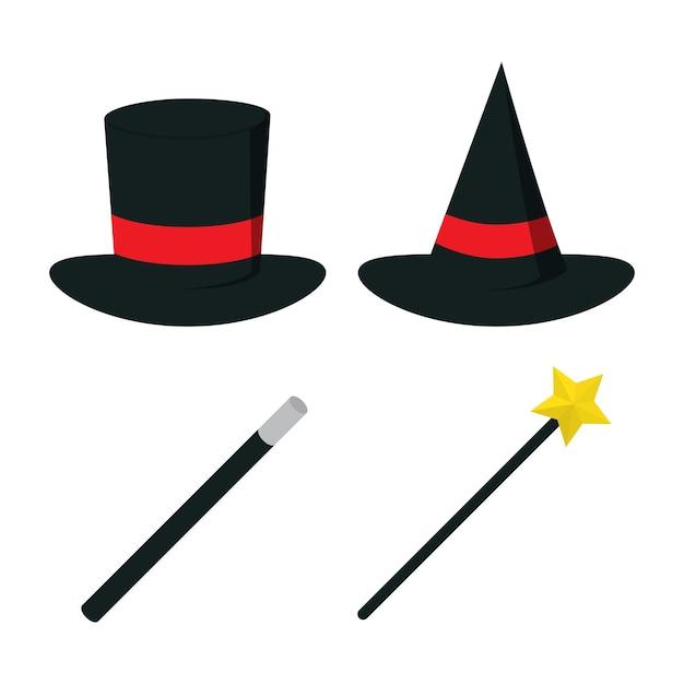 572bf37835f Vector de sombrero mágico con varita mágica | Descargar Vectores Premium