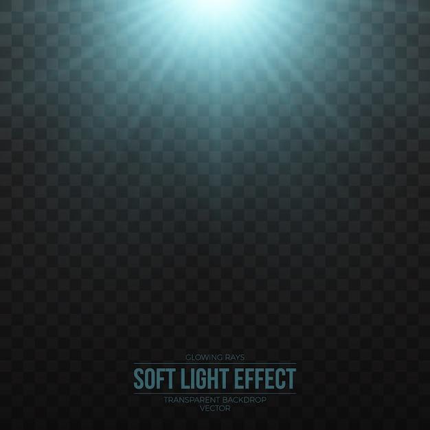 Vector suave efecto de luz azul sobre fondo transparente Vector Premium