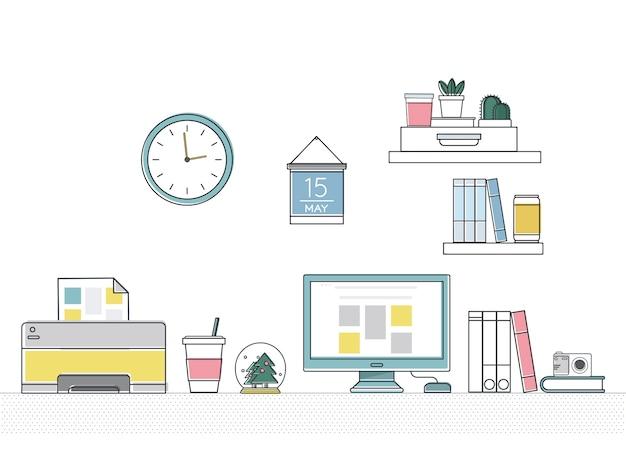 Vector de suministros de oficina vector gratuito