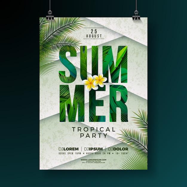 Vector summer party flyer design con flores y hojas de palmeras tropicales Vector Premium