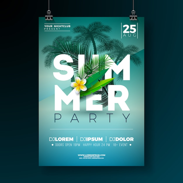 Vector summer party flyer design con flores y palmeras tropicales Vector Premium