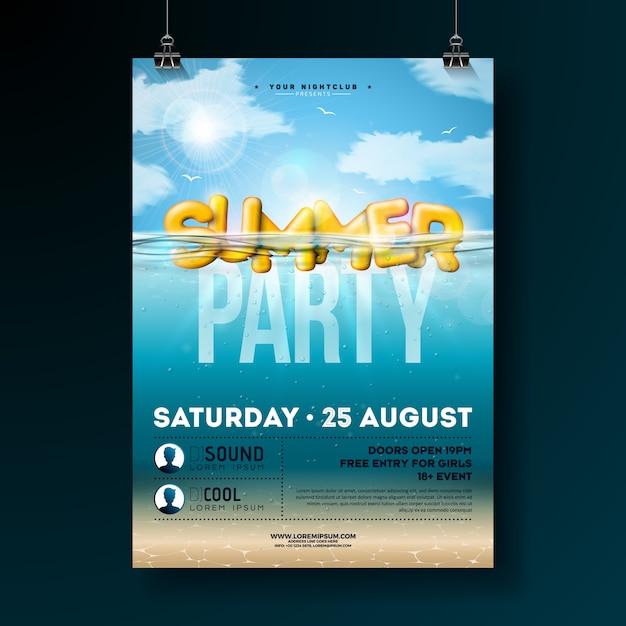 Vector summer party flyer design con submarino azul océano Vector Premium