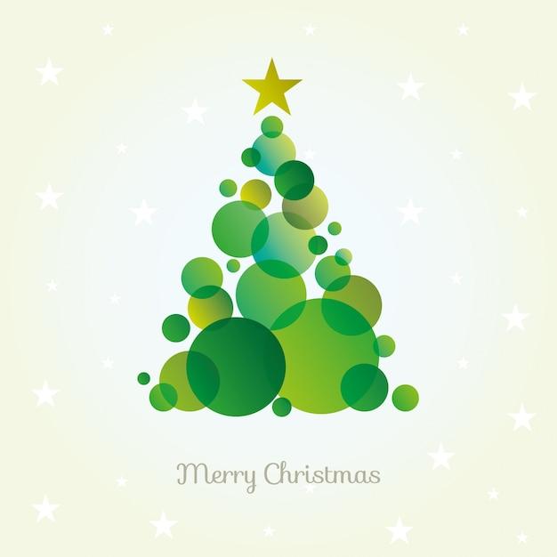 Vector la tarjeta abstracta del árbol de navidad hecha de círculos verdes. vector gratuito
