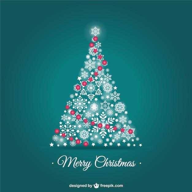 Vector tarjeta de navidad con rbol de copos de nieve de - Arbol navidad nieve ...