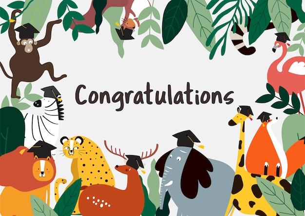 Vector de tarjeta de felicitaciones de estilo de dibujos animados de animales vector gratuito