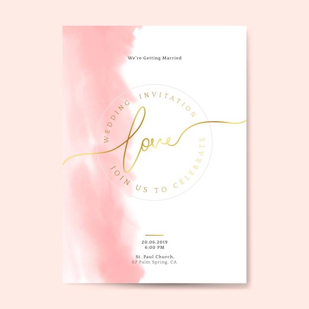 Vector de tarjeta de invitación de boda rosa vector gratuito