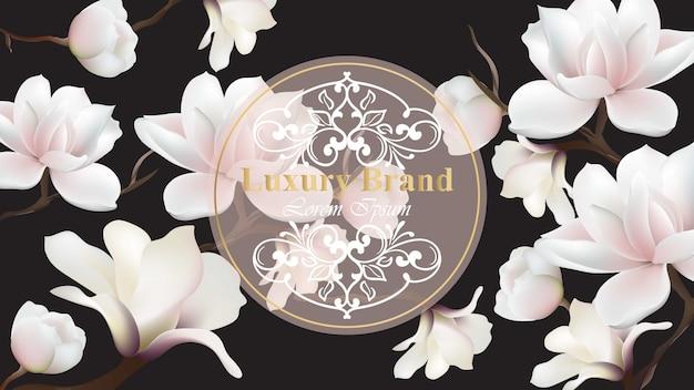 Vector de tarjeta de lujo de negocios. diseño moderno con decoración floral de magnolia. lugar para textos Vector Premium