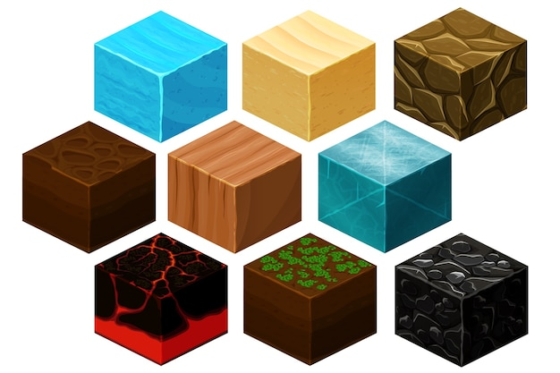 Vector de texturas de cubo 3d isométrico para juegos de computadora. cubo para juego, textura de elemento, ladrillo natural para ilustración de juego de computadora vector gratuito