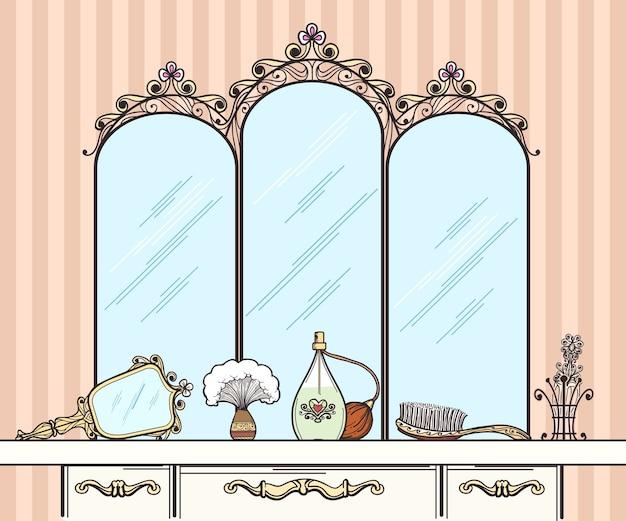 Vector de tocador retro. espejo y cepillo, perfumes y cosmética. tocador interior de muebles con espejo en la ilustración de vector de estilo retro vector gratuito