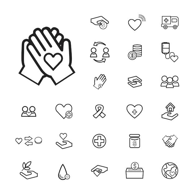 Vector ui illustration salud donación charity concept vector gratuito