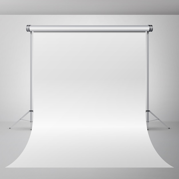 Vector vacío del interior del estudio de la fotografía 3d. fotógrafo realista apartamento ilustración. Vector Premium