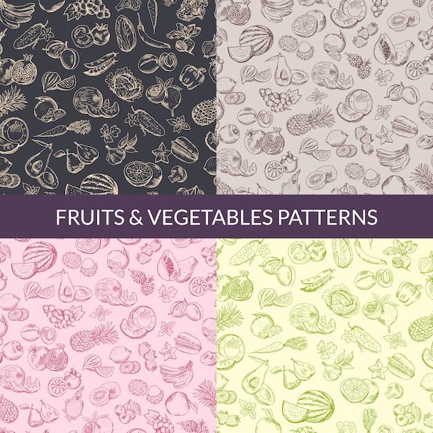 Vector vegano de frutas y verduras, comida sana, patrones orgánicos establecidos. fondo colección de ilustraciones Vector Premium