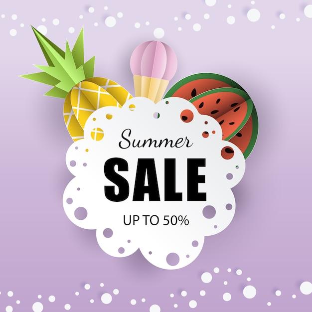 Vector verano banner 3d papel Vector Premium