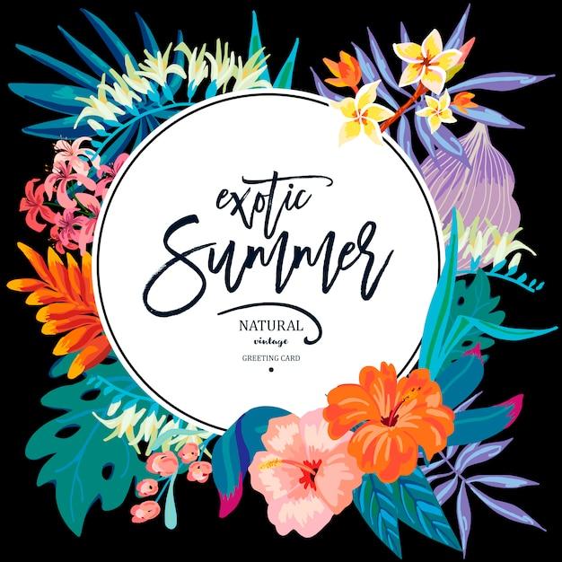 Vector verano deja vintage tarjeta de felicitación exótica Vector Premium