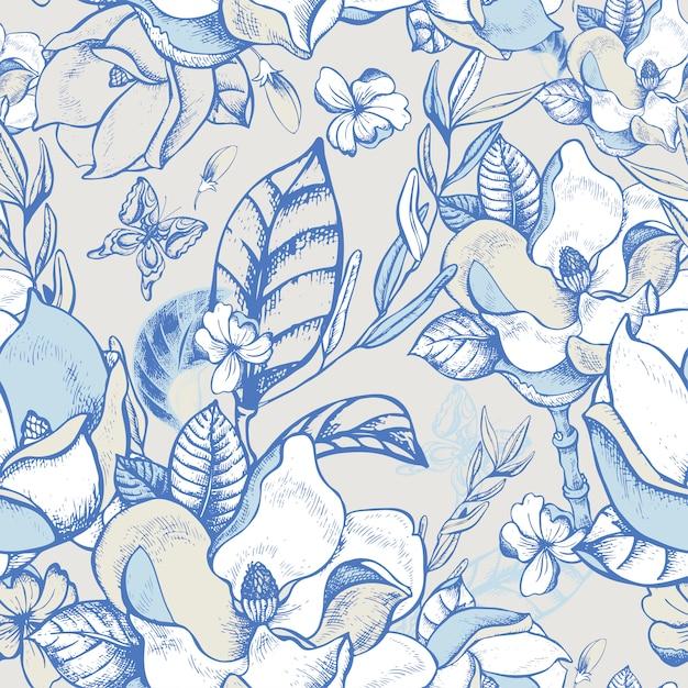 Vector verano magnolia de patrones sin fisuras Vector Premium