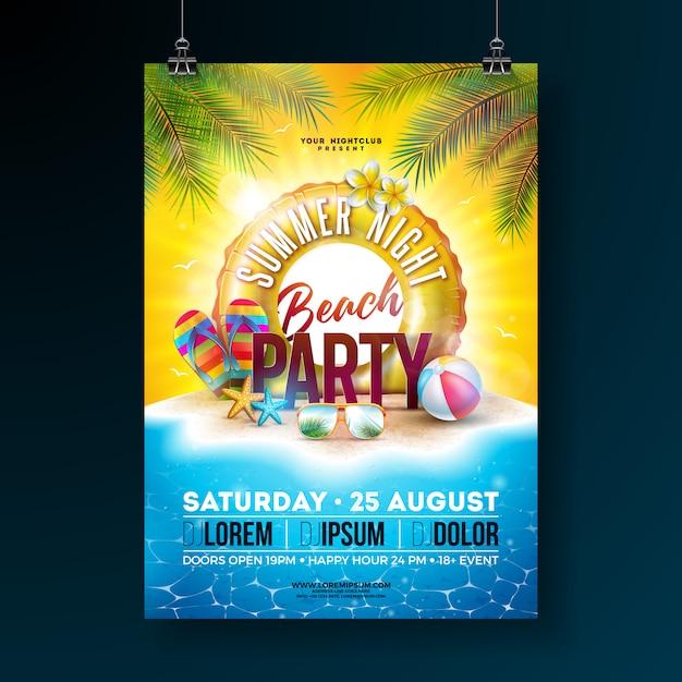 Vector verano noche fiesta en la playa flyer diseño con hojas de palmeras tropicales y flotador Vector Premium