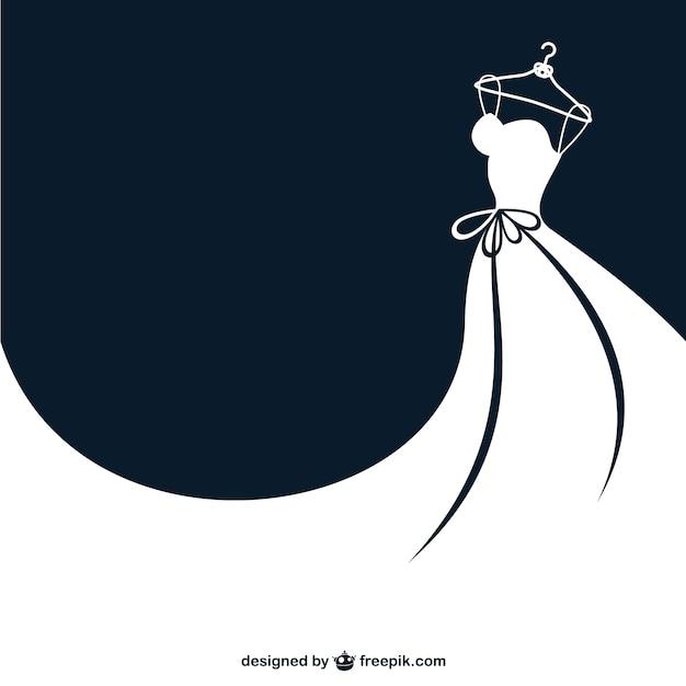 Vector vestido de boda en blanco y negro vector gratuito