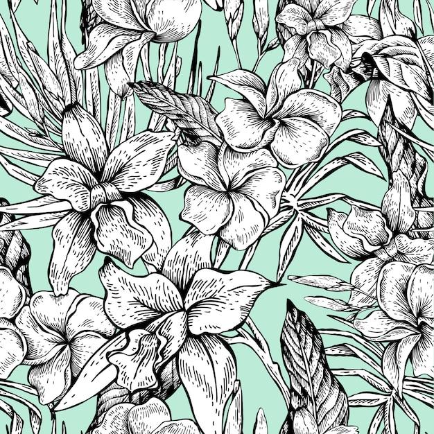 Vector vintage floral tropical de patrones sin fisuras Vector Premium