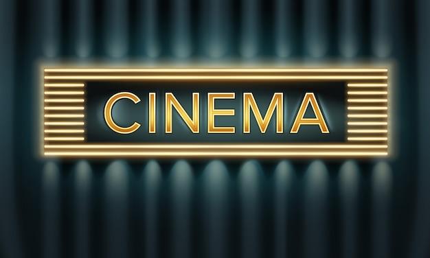 Vector vista frontal de letrero de cine iluminado dorado sobre fondo oscuro vector gratuito