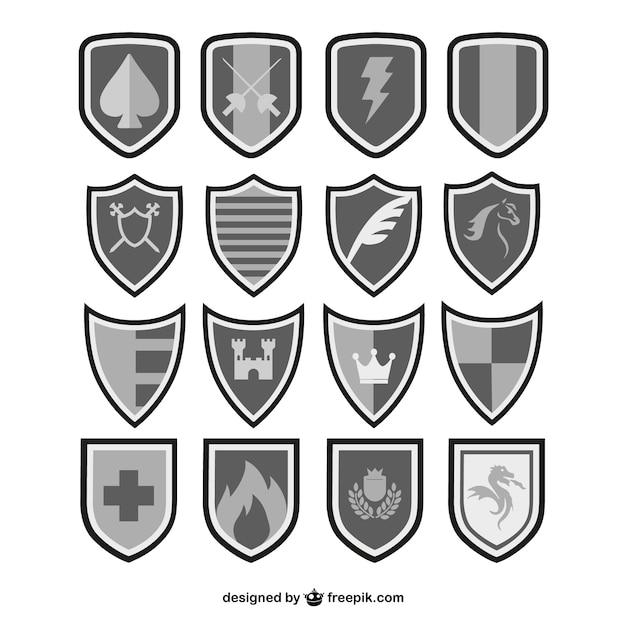Vectores escudos en blanco y negro | Descargar Vectores gratis