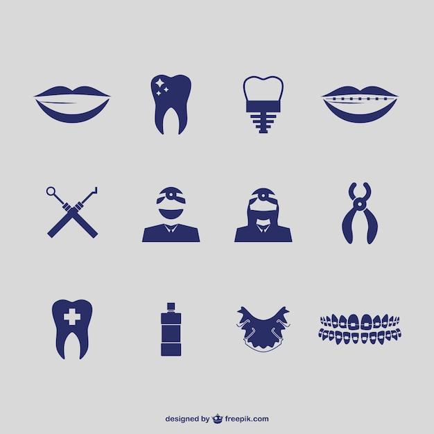 Vectores de iconos de dentista vector gratuito