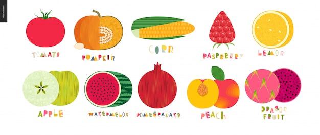 Vegetales y frutas Vector Premium