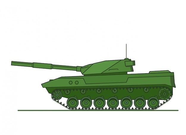 Vehículo blindado tanque militar vehículo de artillería militar. Vector Premium
