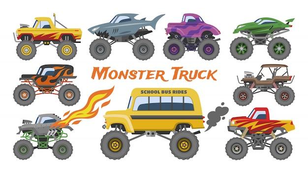 Vehículo de dibujos animados de vector de monster truck o coche e ilustración de transporte de espectáculo extremo Vector Premium